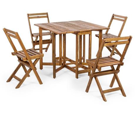 Zestaw stół i 4 krzesła zewnętrzne Augusta Brown