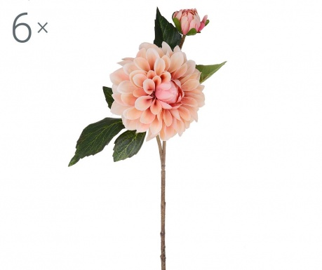 Set 6 flori artificiale Dahlia Romantique Peach