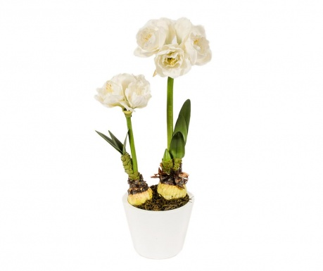 Floare artificiala in ghiveci Amaryllis Doppio White