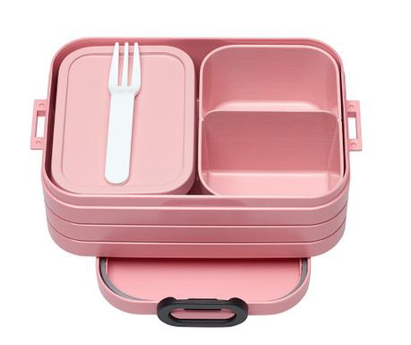 Škatla za hrano z 1 kosom jedilnega pribora Bento Pink S