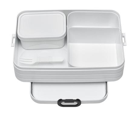 Κουτί γεύματος με 1 μαχαιροπήρουνο Bento White M