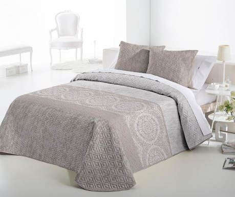 Set s prešitim posteljnim pregrinjalom King Lewis Cream