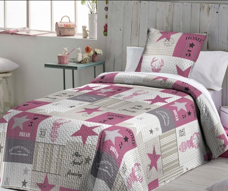 Set s prešitim posteljnim pregrinjalom King Celes Pink