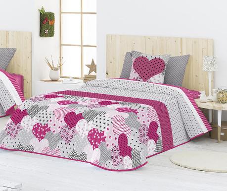 Set s prešitim posteljnim pregrinjalom King Nydia Pink