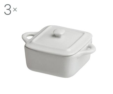Zestaw 3 naczyń do pieczenia z pokrywką Ramekin Cube Lid White 90 ml