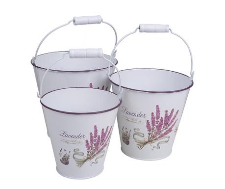 Sada 3 kvetináčov Lavender White