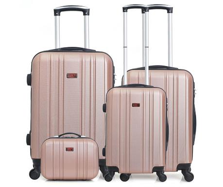 4ad821ce76 Σετ 3 τρόλεϋ και τσάντα καλλυντικών Stromboli Case Golden Pink ...