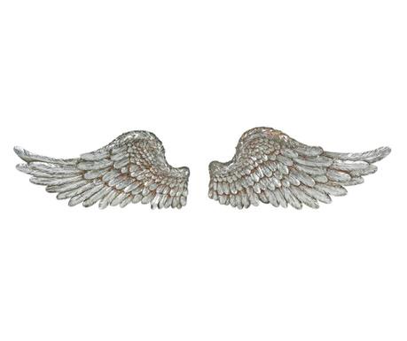 Set 2 stenskih dekoracij Angel Wings Silver