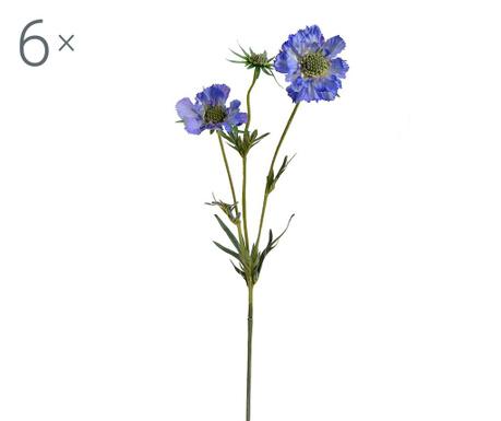 Set 6 umjetnih cvjetova Scabiosa Blue