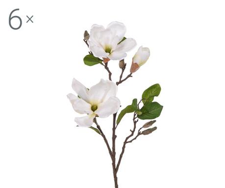 Sada 6 umělých květin Magnolia Prom Cream