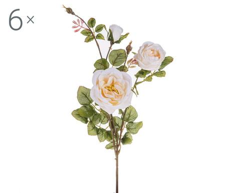 Sada 6 umělých květin Rosa Romantica Cream