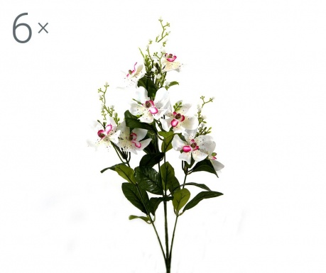 Set 6 flori artificiale Orchidea Vanda White