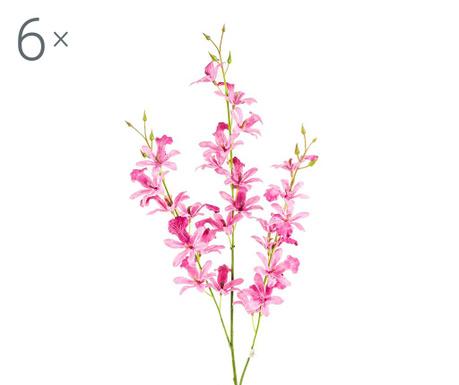 Sada 6 umělých květin Orchidea Beauty Mauve
