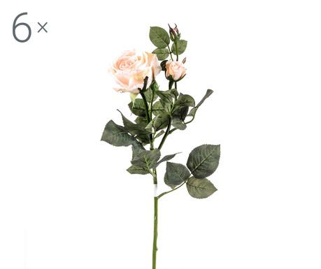 Set 6 umjetnih cvjetova Rosa Kaia Sand