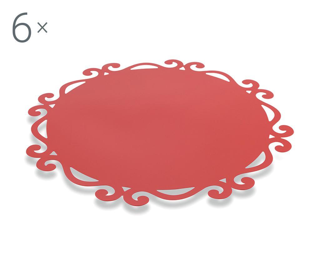 Set 6 podmetača Dorian Round Red 44 cm