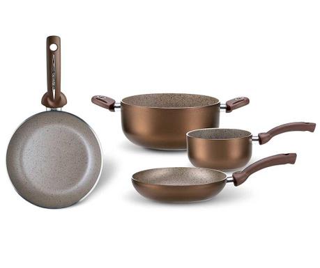 Czteroczęściowy zestaw naczyń do gotowania Uniqum Choco