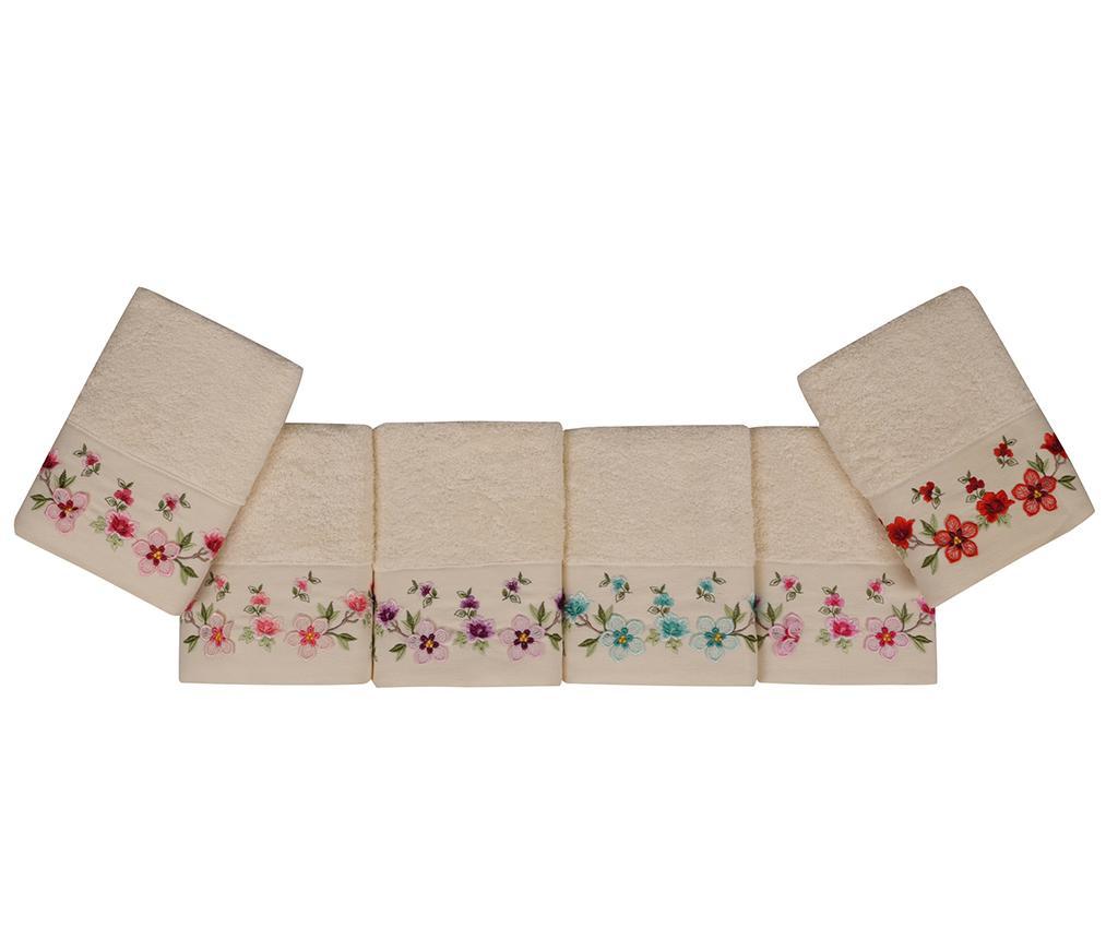 Set 6 prosoape de baie Uc Boyut Nakisli Flowers 50x90 cm