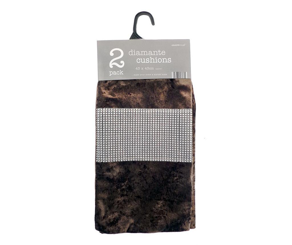Комплект 2 калъфки за възглавница Diamante Chocolate 43x43 см