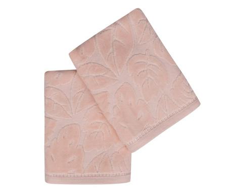 Комплект 2 кърпи за баня Kismi Kadife Yaprak Salmon 50x90 см