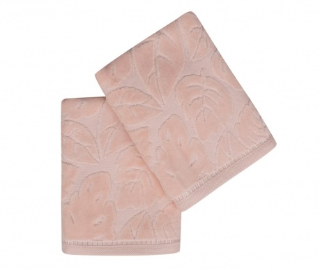 Set 2 kupaonska ručnika Kismi Kadife Yaprak Salmon 50x90 cm