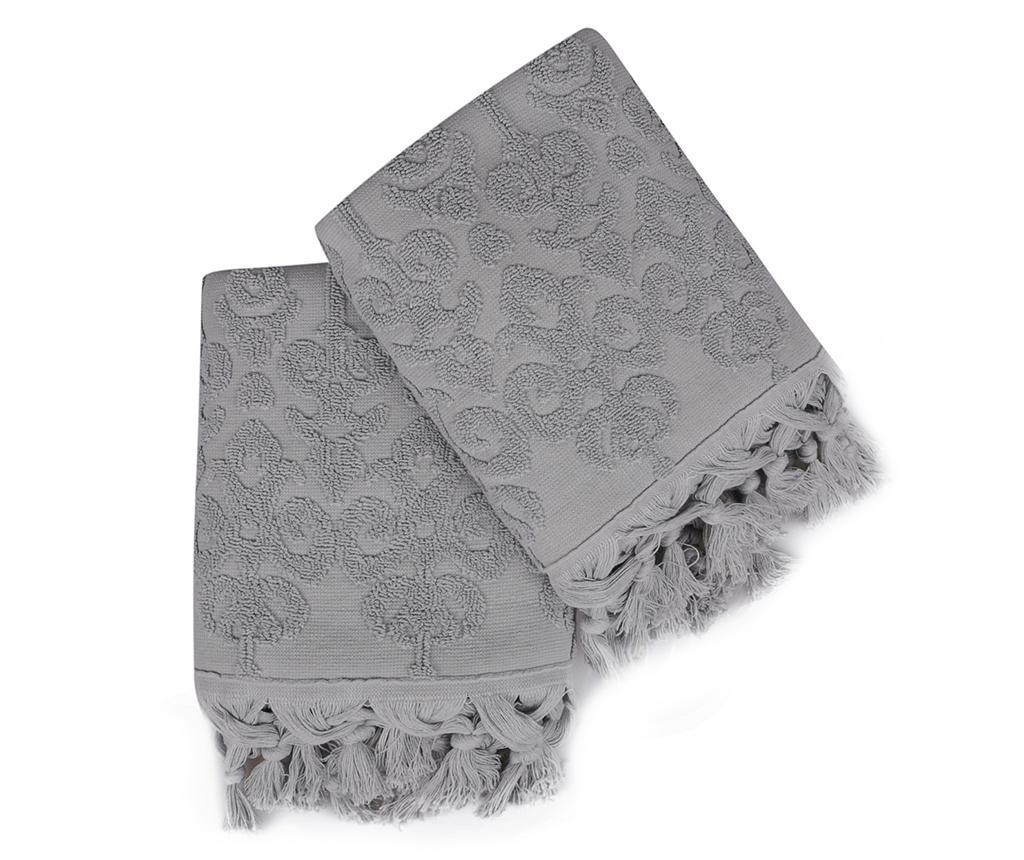 Set 2 kupaonska ručnika Baglamali Kilim Dark Grey 50x90 cm