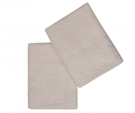 Set 2 kupaonska ručnika Saltanat White 50x90 cm