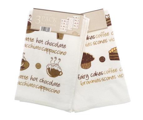 Комплект 3 кухненски кърпи Coffee And Cakes 38x64 см
