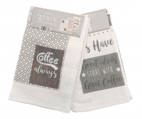 Комплект 3 кухненски кърпи Let's Have Coffee 38x64 см