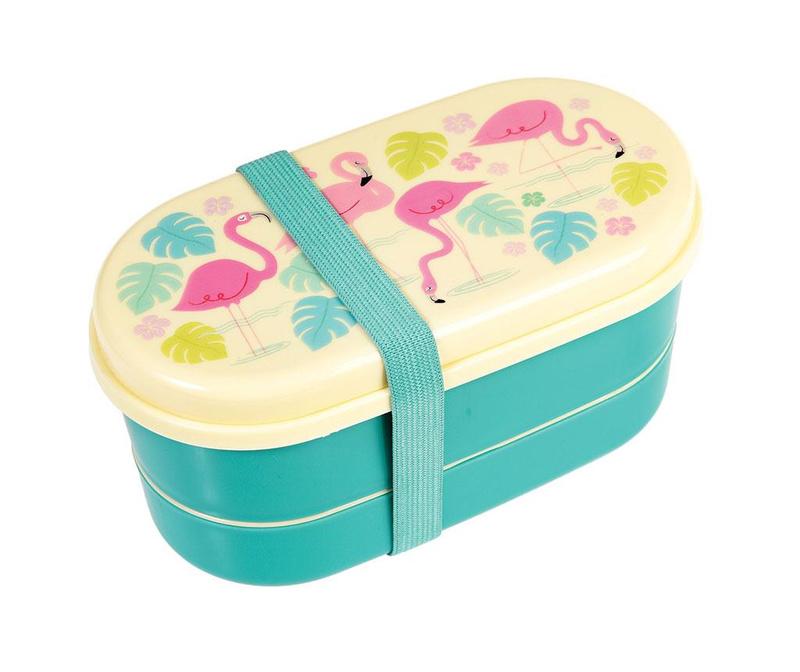 Set cutie pentru pranz si 2 tacamuri Flamingo