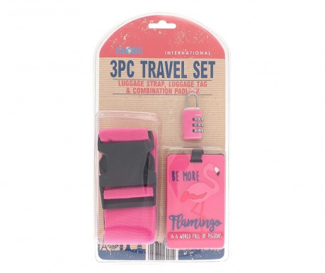 Set pas za prtljago, etiketa in ključavnica Flamingo Pink