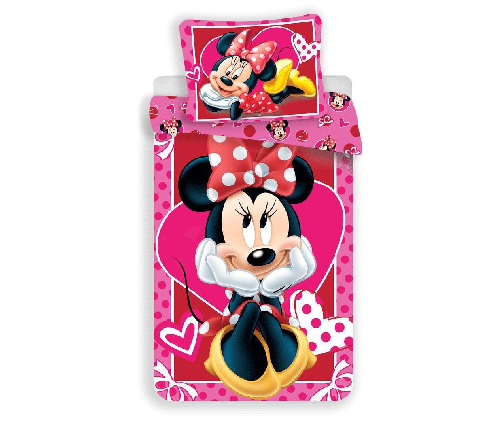 Minnie Mouse Hearts Egyszemélyes ranforce ágynemű