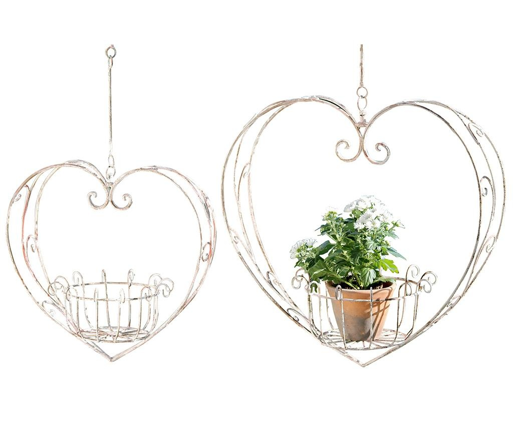 Set 2 visečih držal za cvetlične lonce Heart