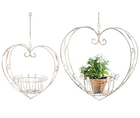 Sada 2 závesných podstavcov na kvetináče Heart