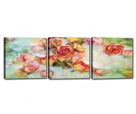 Set 3 slik Rose Blossoms 30x30 cm