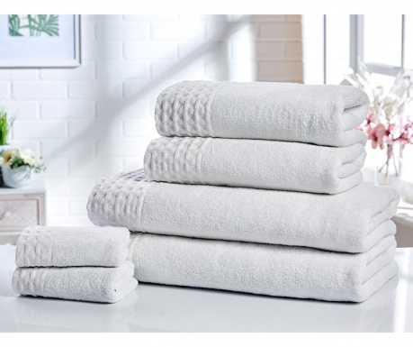 Set 6 prosoape de baie Retreat White