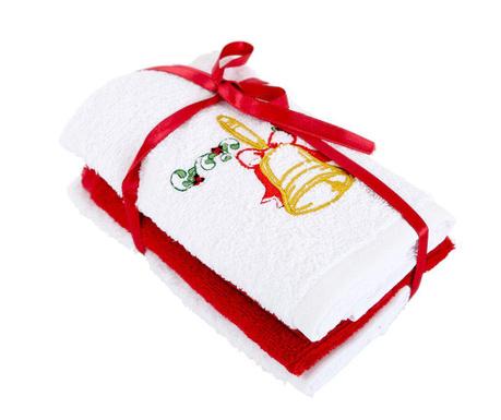 Zestaw 3 ręczników kąpielowych Bell White 30x50 cm