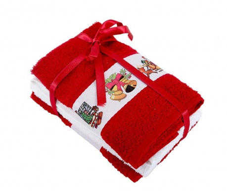 Set 3 prosoape de baie New Year Red 30x50 cm