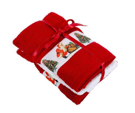 Zestaw 3 ręczników kąpielowych Surprise Red 30x50 cm
