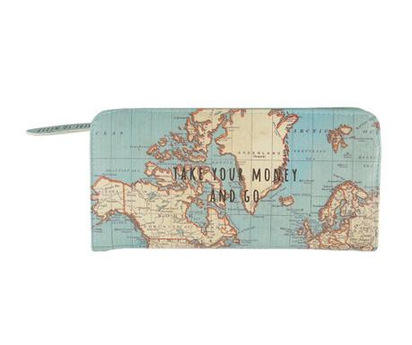 Denarnica Vintage Map