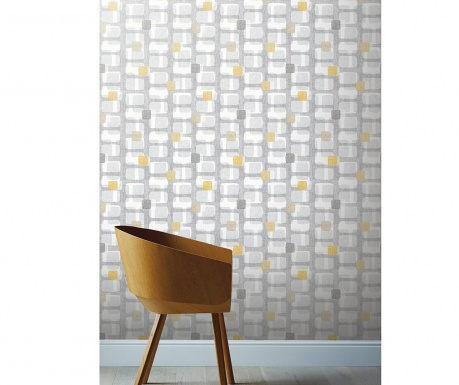 Tapeta Retro Block Ochre and Grey 53x1005 cm