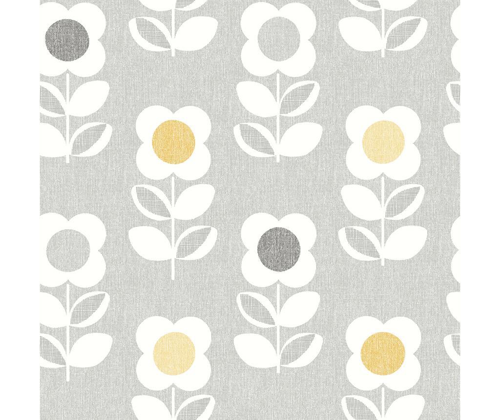 Stenska tapeta Retro Floral Grey Yellow 53x1005 cm
