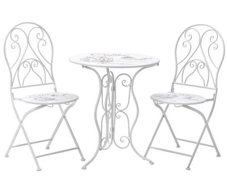Zestaw stół i 2 składane krzesła ogrodowe Coffee