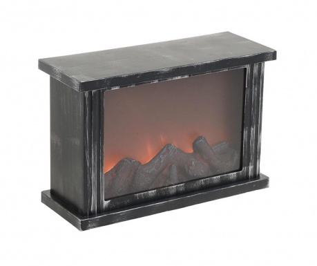 Светеща декорация Fireplace Black & Silver