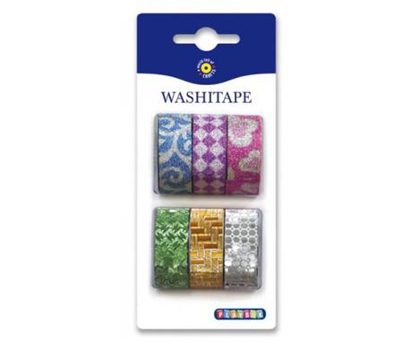 Sada 6 rolí textilní samolepící pásky Glitter Mix