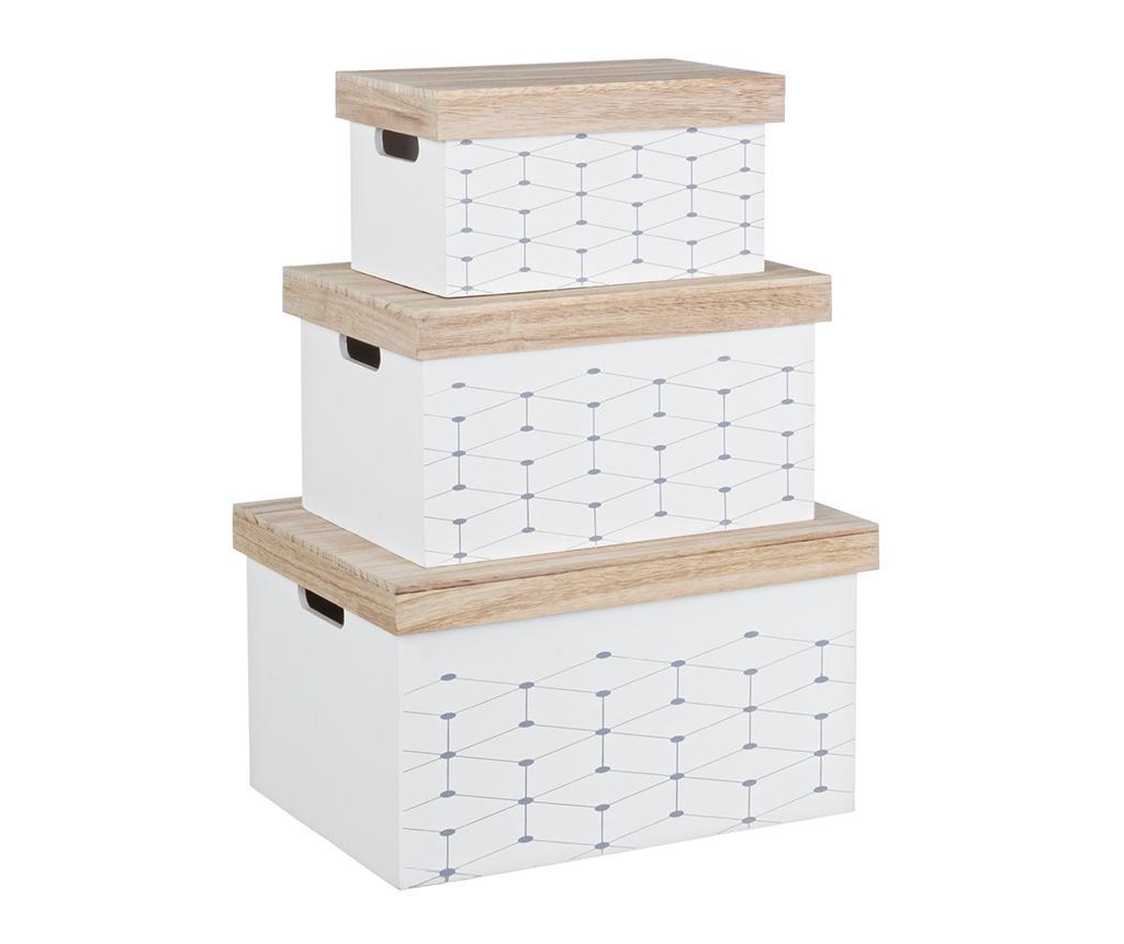 Set 3 cutii cu capac Alveare