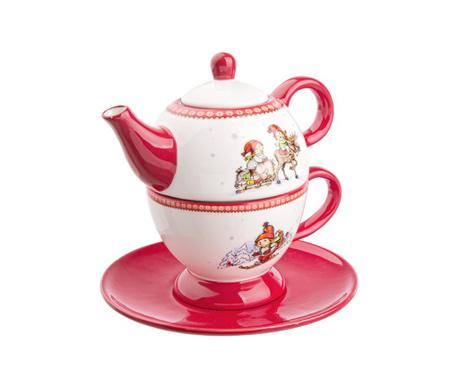 Комплект чайник с чашка и чинийка Funny Tea