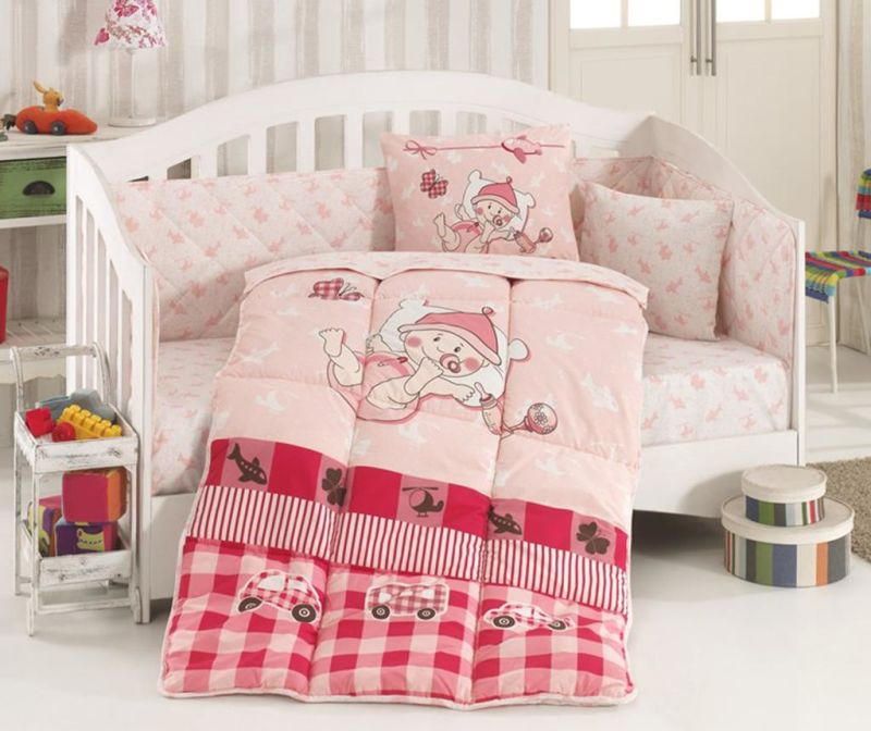 Posteljina za krevetić sa poplunom Ranforce Hug Me Pink