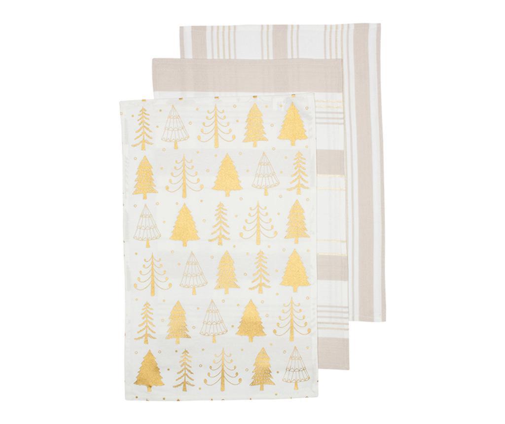 Set 3 kuhinjska ručnika Sparkle Tree Golden 45x70 cm