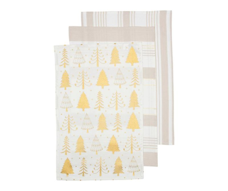 Set 3 kuhinjska ručnika Sparkle Tree Golden 45x70 cm