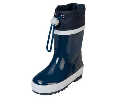 Cizme de ploaie copii Warm Navy and White 34-35